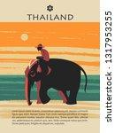 thailand. tour on the elephant. ... | Shutterstock .eps vector #1317953255