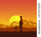 Silhouette Of Soldier Paying...