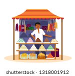 indian man selling  traditional ... | Shutterstock .eps vector #1318001912