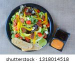 top view of  avocado salad with ... | Shutterstock . vector #1318014518