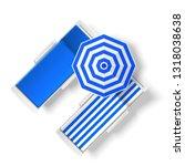 blue striped sun umbrella near...   Shutterstock .eps vector #1318038638