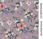 trendy bright floral pattern in ... | Shutterstock .eps vector #1318053698