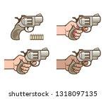 pistol  hands holding pistol ... | Shutterstock .eps vector #1318097135