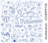 hand drawn set of fairy tale... | Shutterstock .eps vector #1318099718