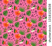 vector tropical pattern with... | Shutterstock .eps vector #1318102838