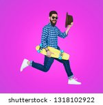 side view of trendy hipster in... | Shutterstock . vector #1318102922
