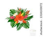 vector tropical bouquet... | Shutterstock .eps vector #1318103072