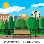 city park concept  wooden bench ... | Shutterstock . vector #1318129592
