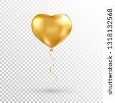 gold heart balloon on... | Shutterstock .eps vector #1318132568