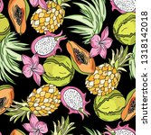 exotic fruits pattern | Shutterstock .eps vector #1318142018