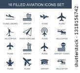 16 aviation icons. trendy... | Shutterstock .eps vector #1318156742
