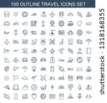 100 travel icons. trendy travel ... | Shutterstock .eps vector #1318168355