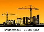 working cranes on building for... | Shutterstock . vector #131817365