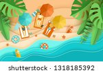 beach vacation tiny people... | Shutterstock .eps vector #1318185392