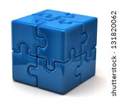 Stock photo blue puzzle cube 131820062