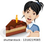 cartoon woman holding a slice... | Shutterstock .eps vector #1318219085