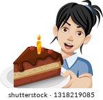 cartoon woman holding a slice... | Shutterstock .eps vector #1318219085