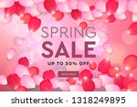 spring sale with pink flying... | Shutterstock .eps vector #1318249895