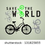 vector paper cut  out bicycle... | Shutterstock .eps vector #131825855