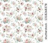 watercolor flowers seamless... | Shutterstock . vector #1318268378