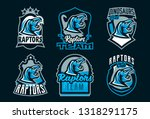 set of dinosaur emblems. sports ... | Shutterstock .eps vector #1318291175