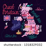 tourist illustrated map of the...   Shutterstock .eps vector #1318329332