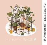girl spending time at... | Shutterstock .eps vector #1318336742