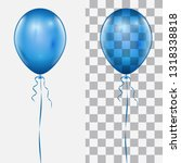 realistic blue balloon isolated ... | Shutterstock .eps vector #1318338818