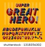 great hero font. 3d alphabet... | Shutterstock .eps vector #1318356302