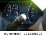 photo speedometer in the car on ... | Shutterstock . vector #1318358102