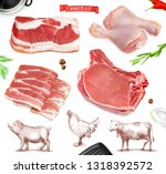 meat food. beef  pork  chicken... | Shutterstock .eps vector #1318392572