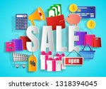 sale concept with word  paper... | Shutterstock .eps vector #1318394045