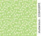light green leaves with flowers ... | Shutterstock .eps vector #1318410095