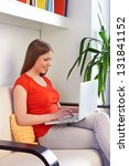 young woman working with pc at... | Shutterstock . vector #131841152
