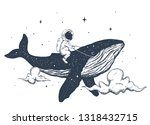 astronaut flies on the whale in ...   Shutterstock .eps vector #1318432715