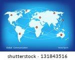world map globe communication ... | Shutterstock .eps vector #131843516
