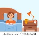 girl lying on bed in home... | Shutterstock .eps vector #1318443608