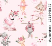 Stock photo beautiful seamless tileable pattern with watercolor ballerinas animals bunny kitten cat and 1318448672