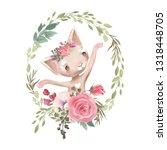 cute girl baby kitten  cat with ... | Shutterstock . vector #1318448705