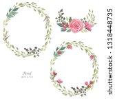 watercolor floral frame ... | Shutterstock . vector #1318448735