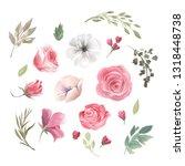 watercolor floral design...   Shutterstock . vector #1318448738