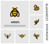 Set Of Bee Logo Design Vector....