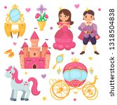 princess girl and prince boy... | Shutterstock .eps vector #1318504838