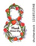 women day background with frame ... | Shutterstock .eps vector #1318515548