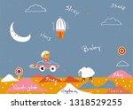 cute sky pattern.   sleeping... | Shutterstock .eps vector #1318529255