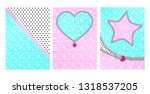 mint pink color background with ... | Shutterstock .eps vector #1318537205