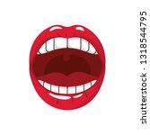 female mouth pop art style... | Shutterstock .eps vector #1318544795