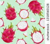 pitaya seamless pattern. red... | Shutterstock .eps vector #1318560128
