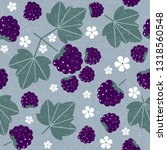 blackberry seamless pattern.... | Shutterstock .eps vector #1318560548