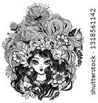 girl with flowers  leaves and... | Shutterstock .eps vector #1318561142